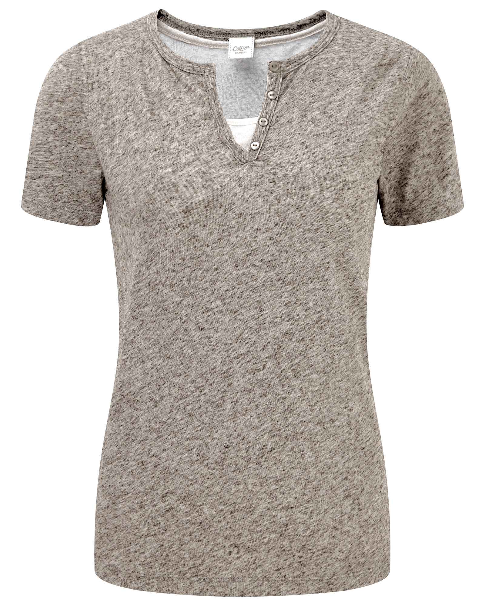 Cotton Traders Women's Linen-blend Double Layer T-shirt in Grey
