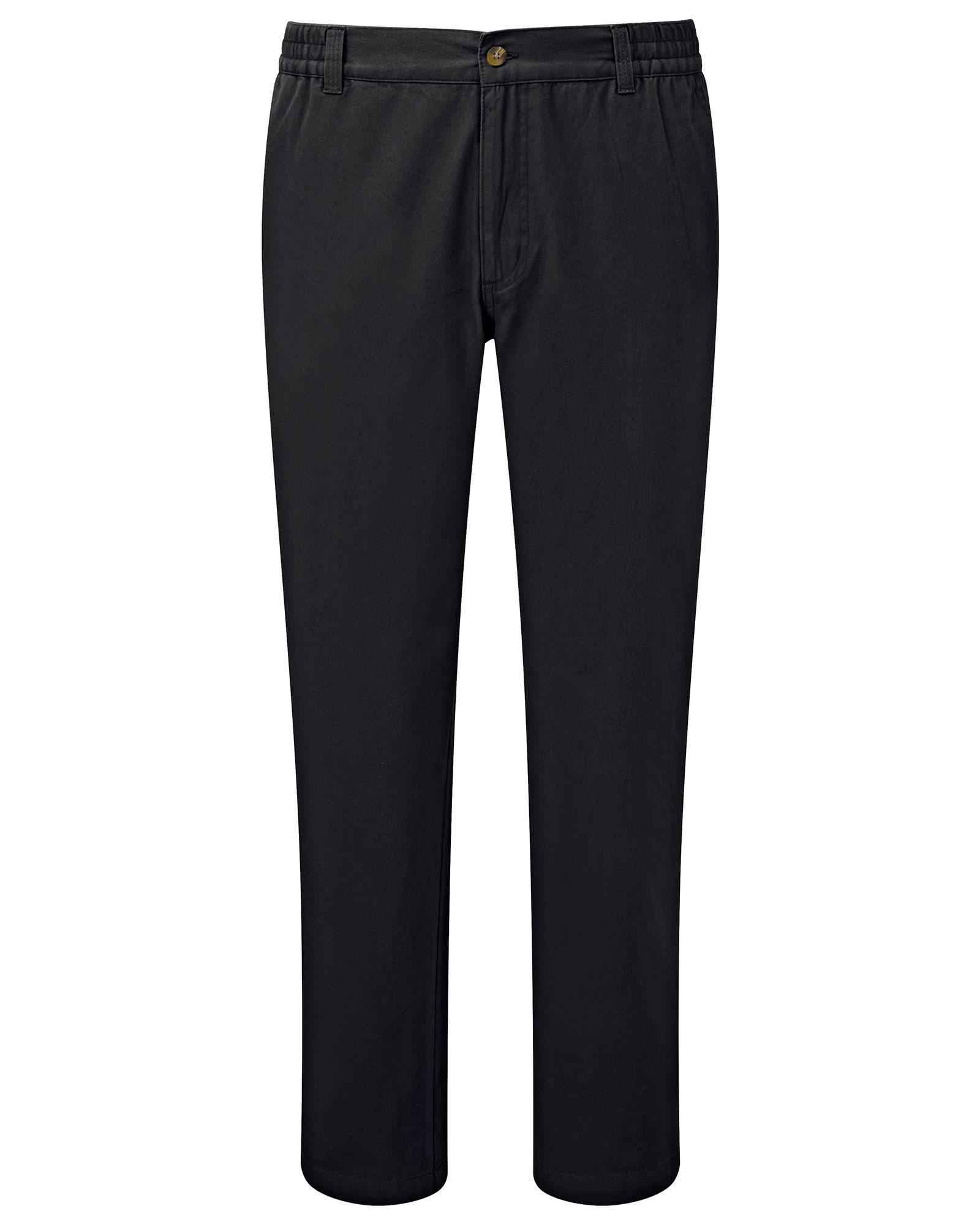 Cotton Traders Men's Flat Front Comfort Trousers in Black