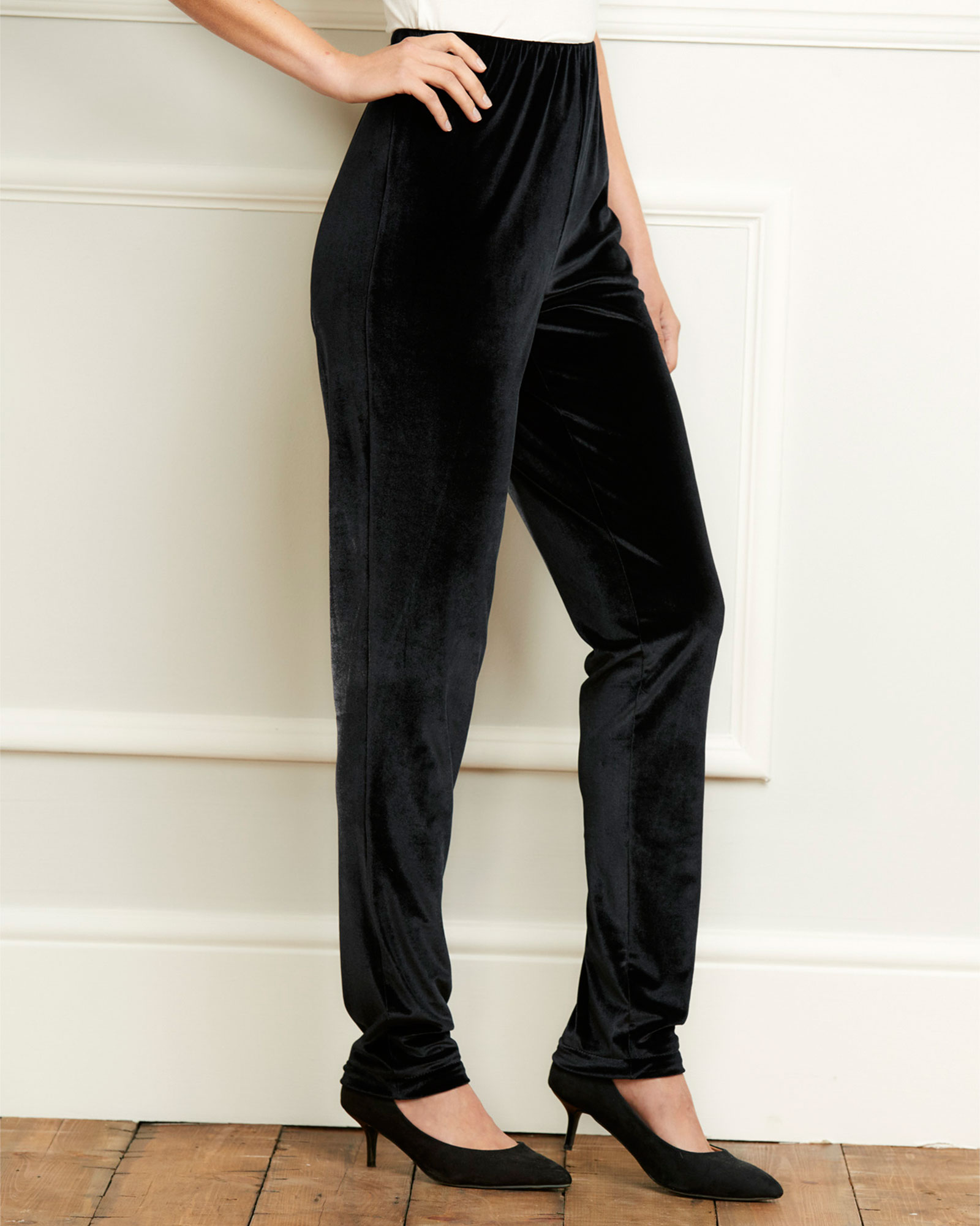 Cotton Traders Women's Velour Tapered Trousers in Black
